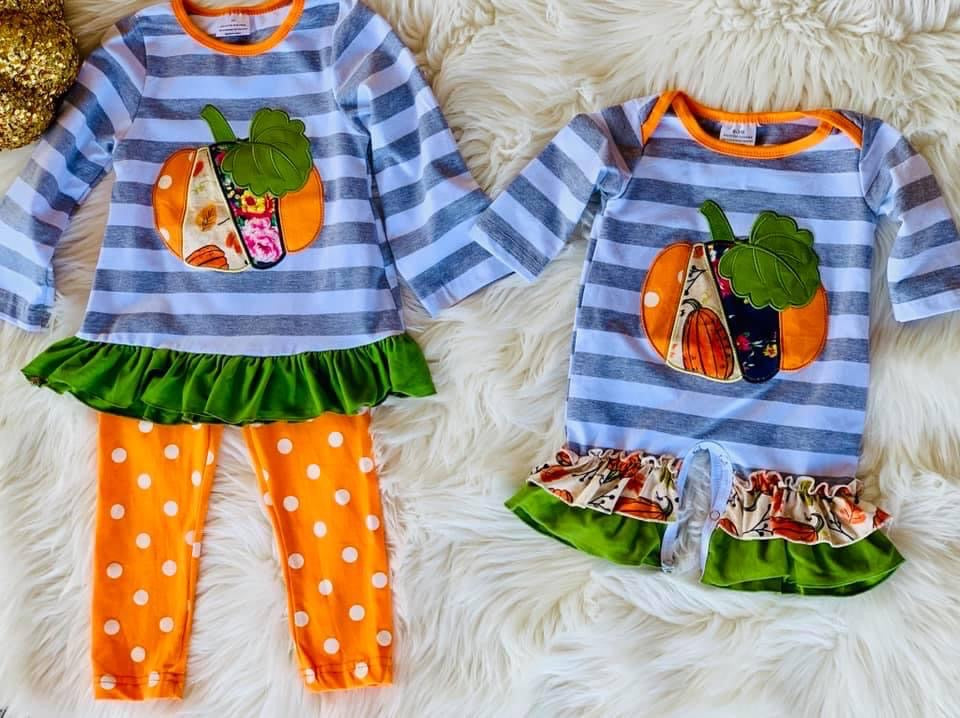 Patchwork Pumpkin Set/Romper