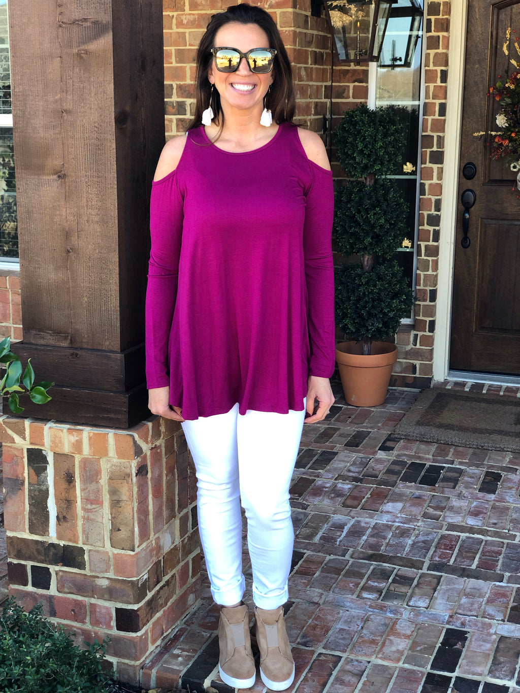 Magenta Cold Shoulder Top