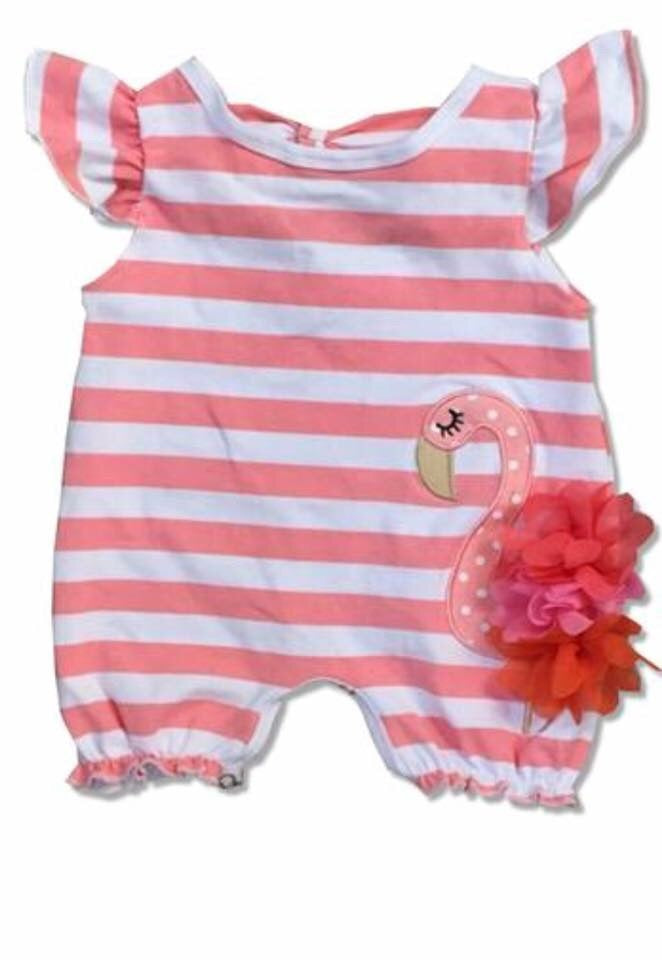 Striped Flamingo Romper