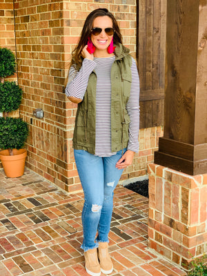 Fall Staple Vest-Olive