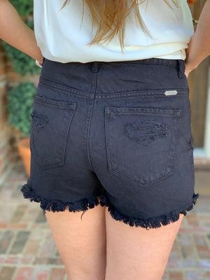 Black High Waist Denim Shorts