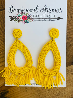 Yellow Beaded Teardrop Tassel Earrings