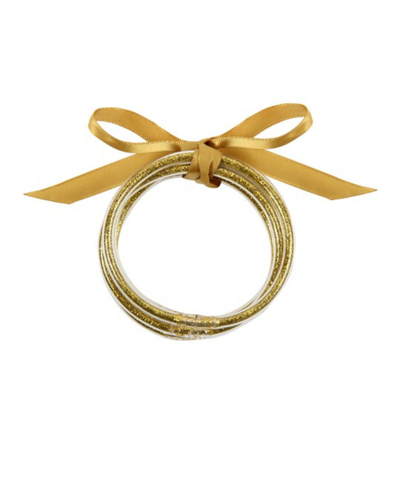 Gold Plastic Glitter Bangle Set