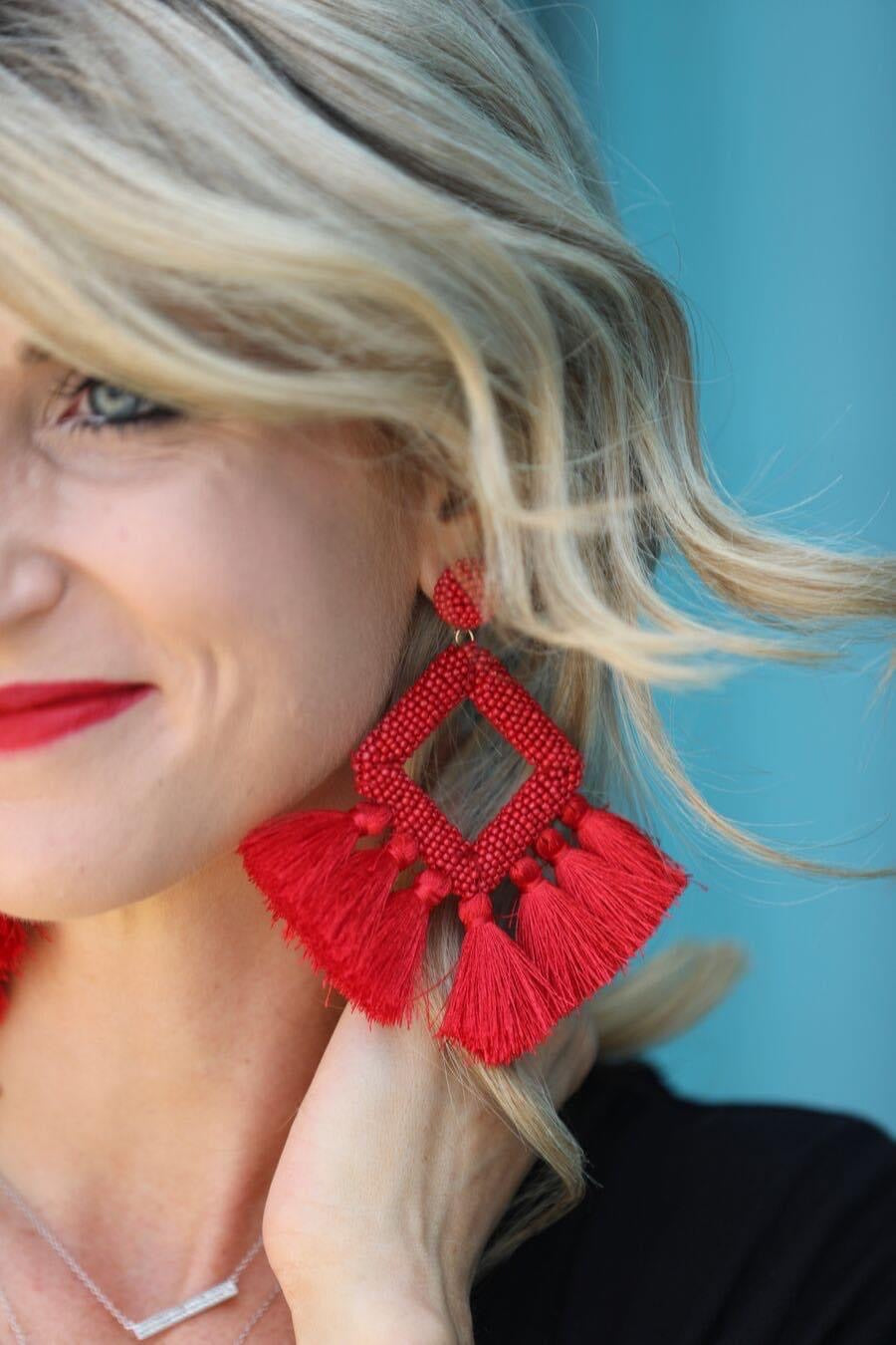 The Layla Fringe Earring-Red