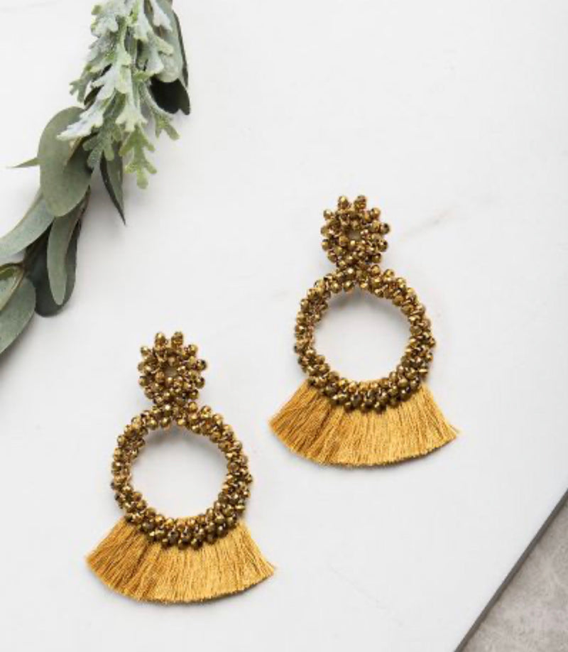 Full of Flair Beaded Earrings-Mustard