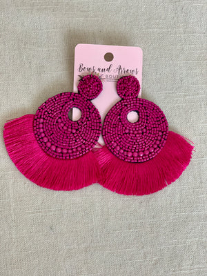 Pink Beaded Fringe Earrings