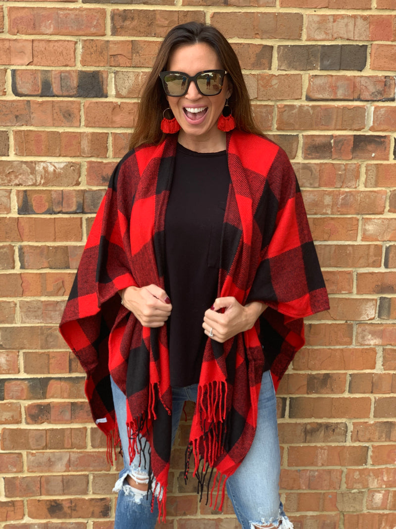 Red/Black Buffalo Print Poncho