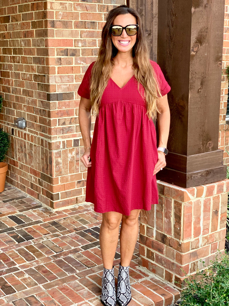 Fall Essential Dress-Cranberry