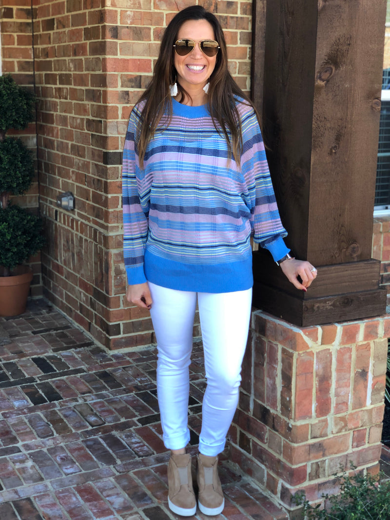 Periwinkle Mix Striped Top