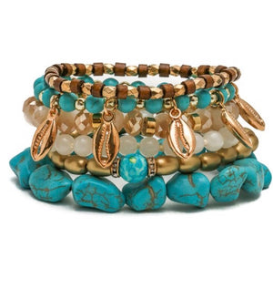 Turquoise Gold Shell Bracelet Set