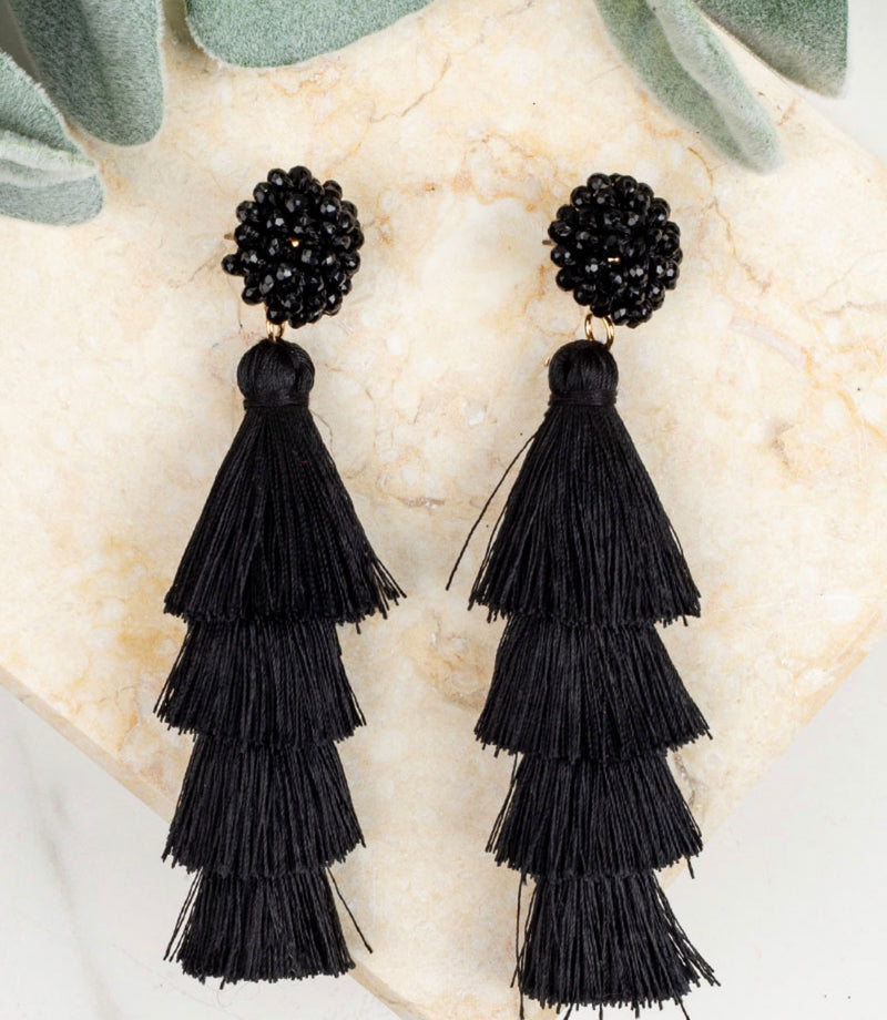 Queen of the Tassel Earrings-Black