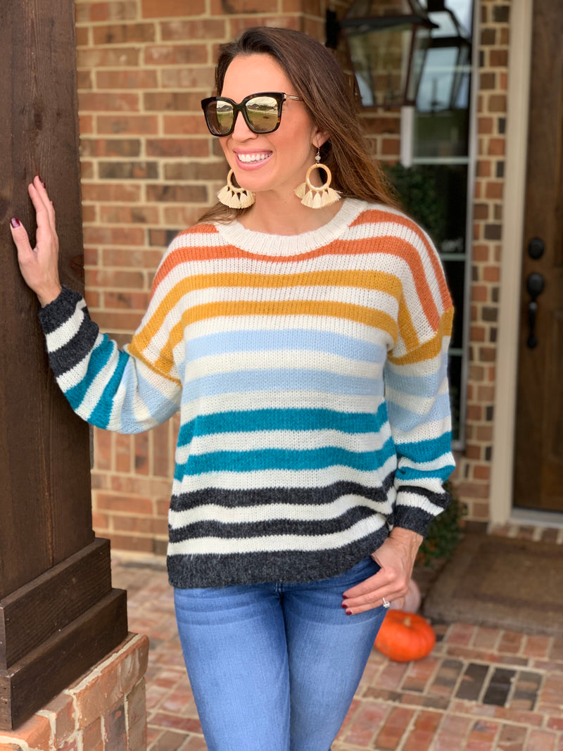 Chilly Nights Multi Striped Sweater