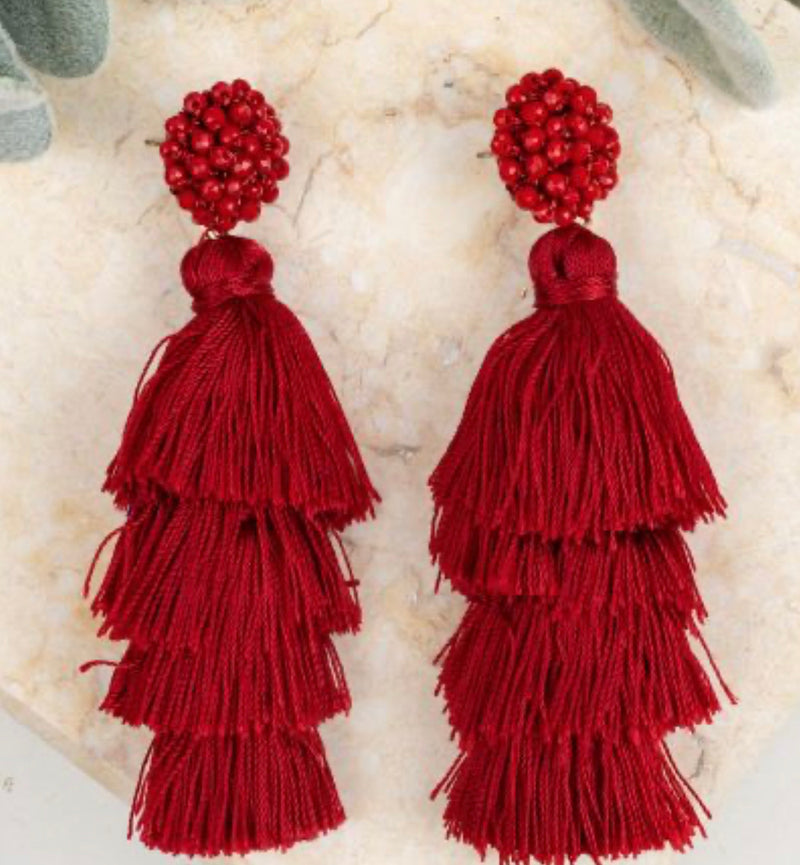 Queen of the Tassel Earrings-Dark Red