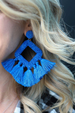 The Layla Fringe Earring-Royal