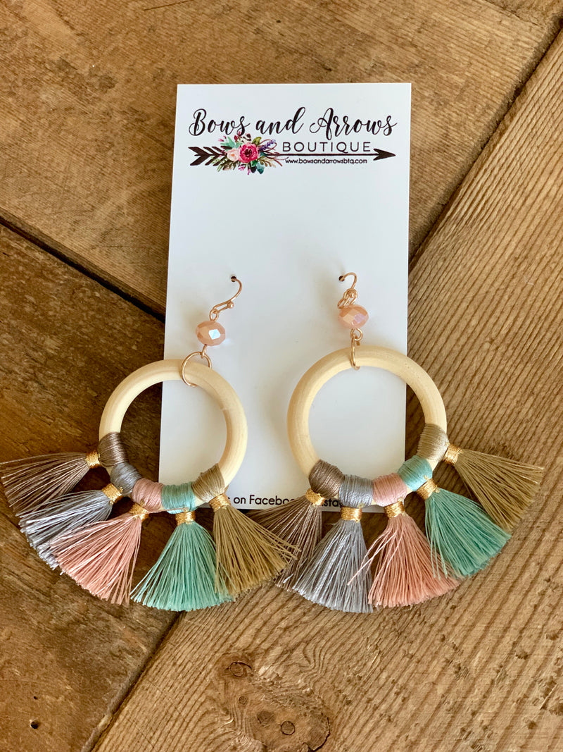 Wood Tassel Earrings-Mint Mix