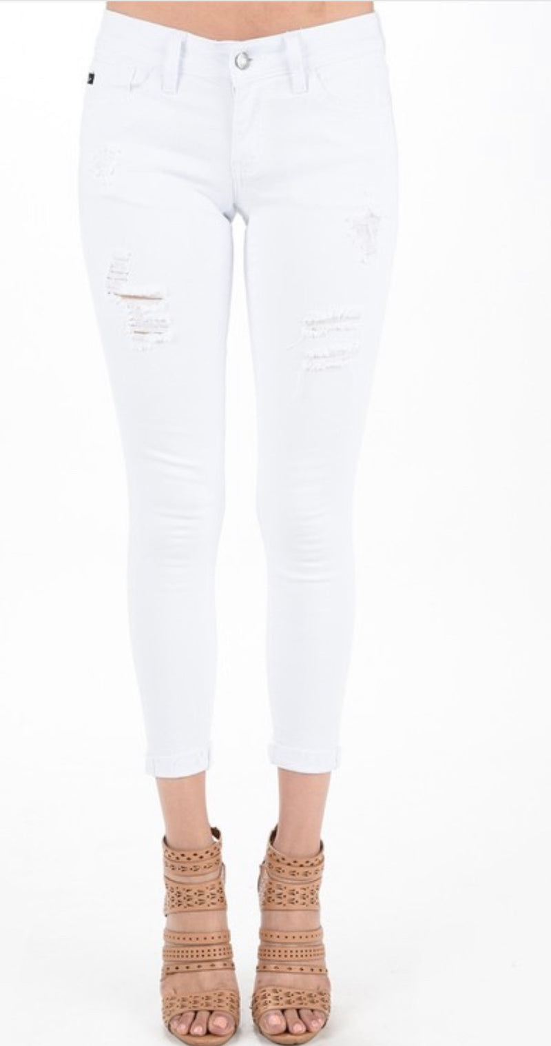 White Distressed Crop Skinnies