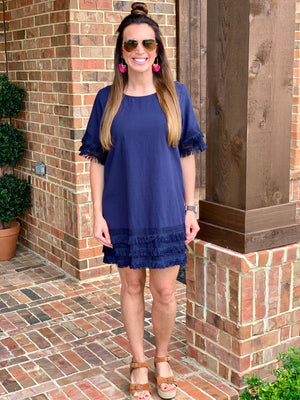 Fanciful Fringe Dress-Navy