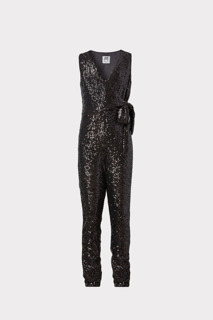 Mini Stretch Micro Sequins Tie Jumpsuit
