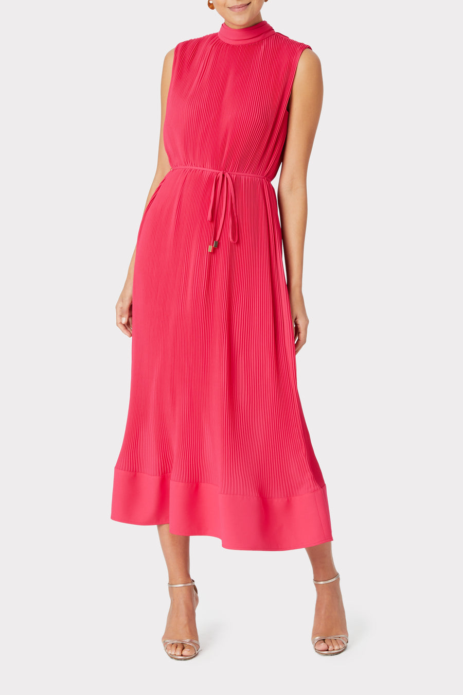 Melina Solid Pleated Dress