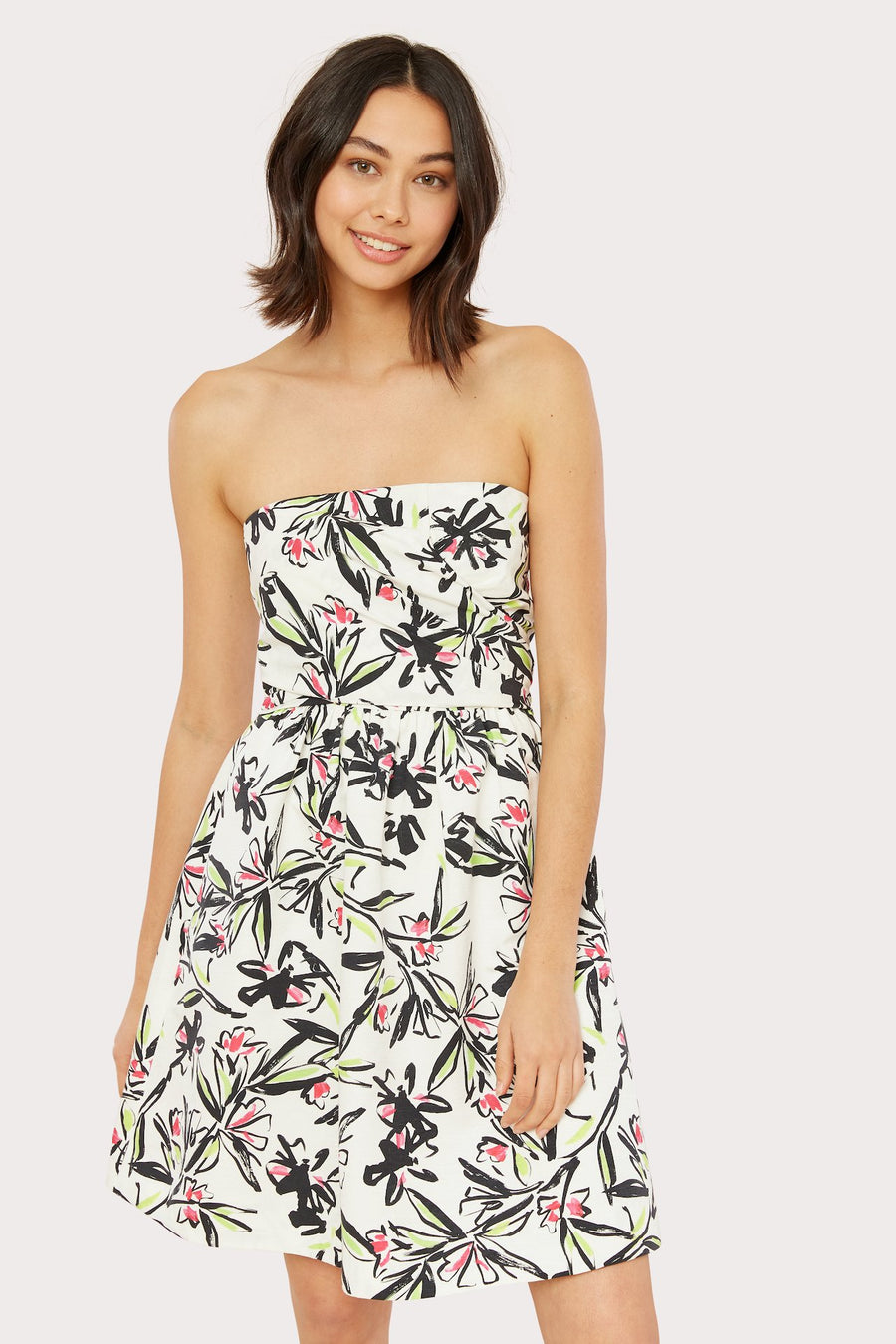 Painted Floral Cross Wrap Dress