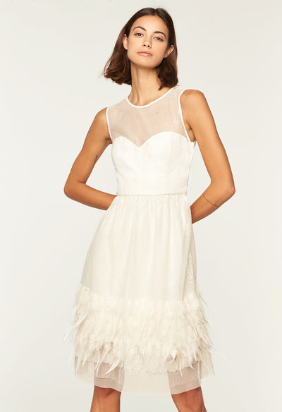 Milly Feather Dress in White