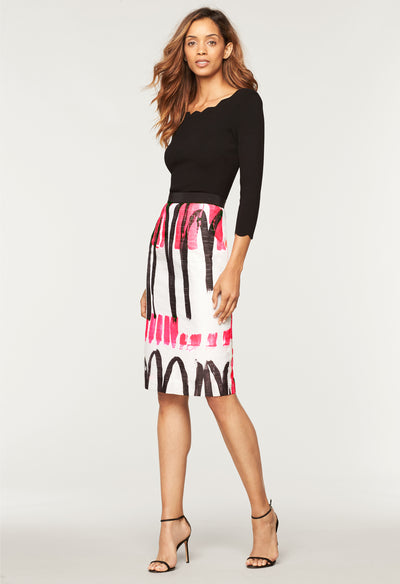 Modern Scribble Print Classic Midi Skirt - MILLY | MILLY
