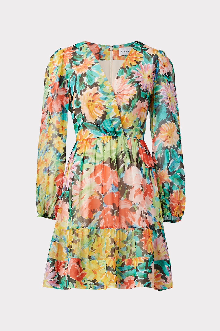 Mia Garden Floral Silk Chiffon Closed Back Dress