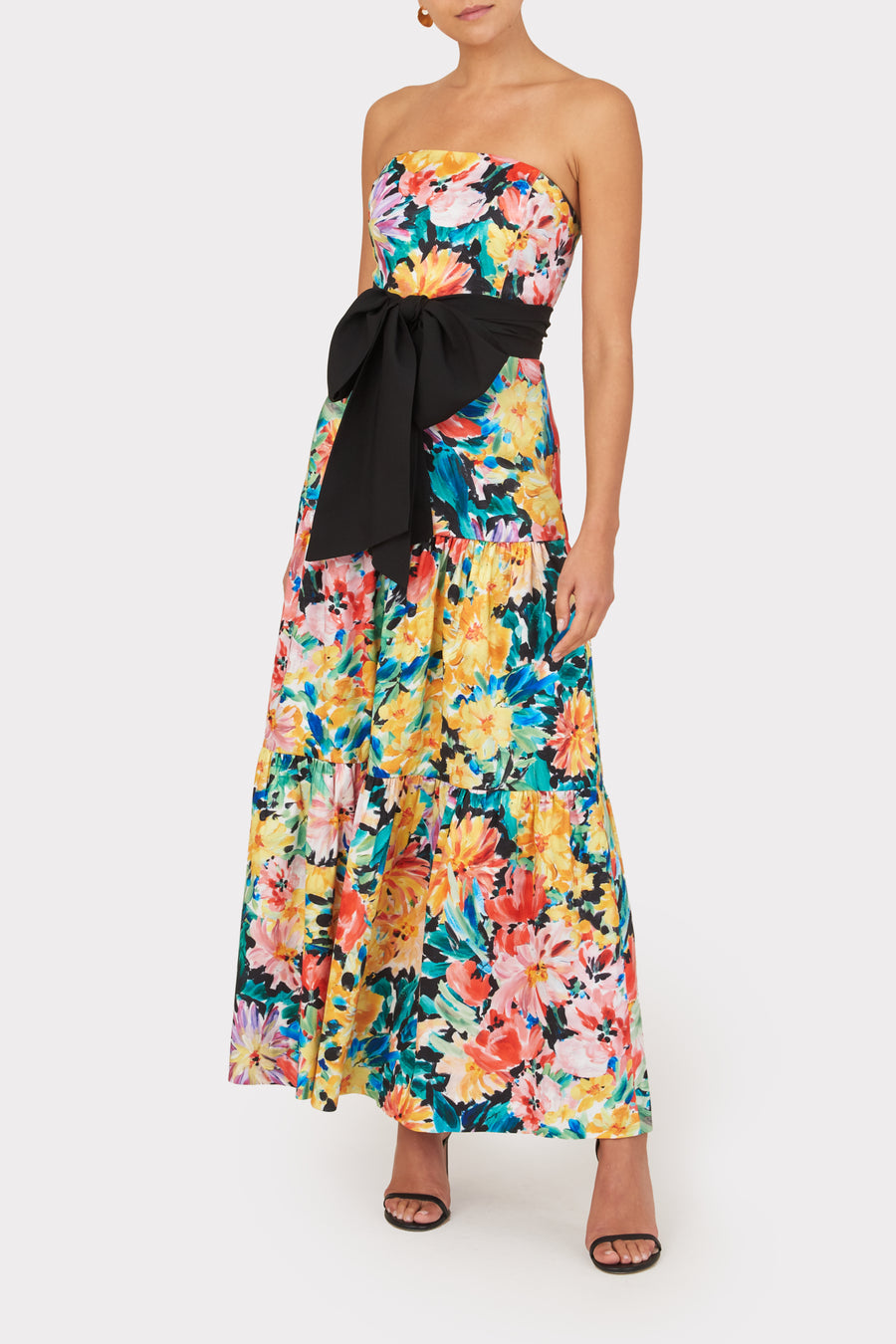 Garden Floral Stretch Taffeta Dress