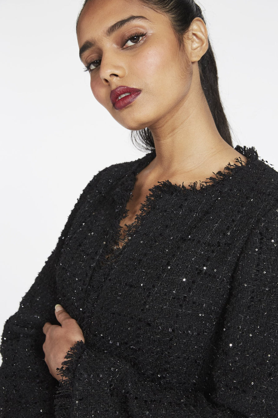 Guinevere Micro Sequin Tweed Jacket