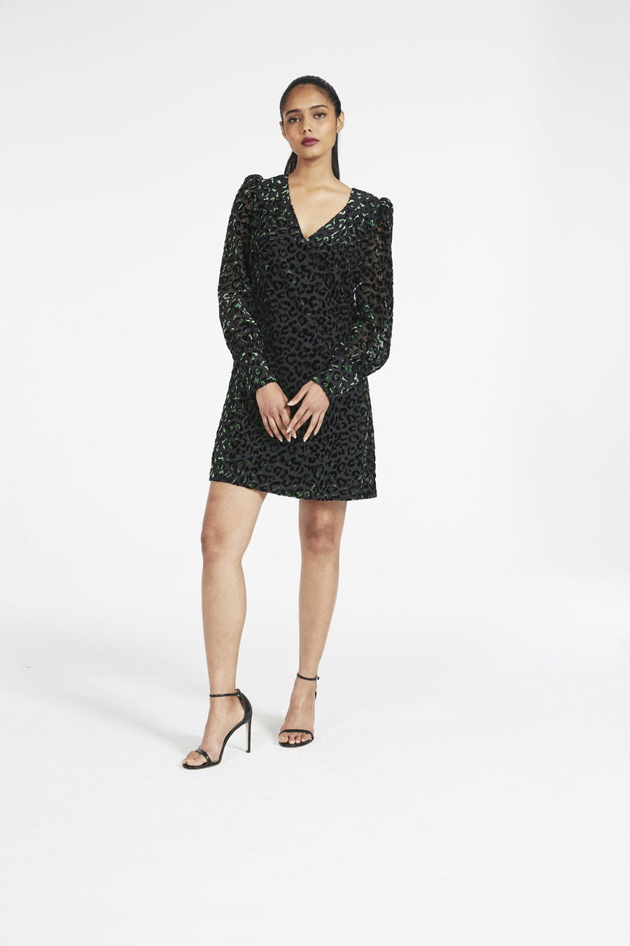 Lylah Blouson Sleeve Velvet Leopard Dress