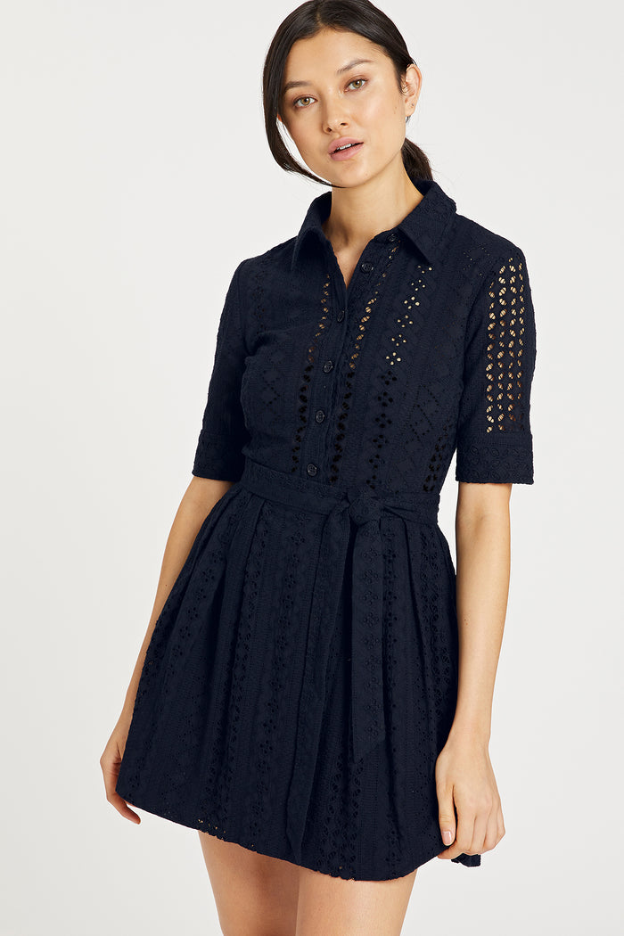 Milly LINEAR COTTON EYELET CLEO SHIRT DRESS in Navy Blue