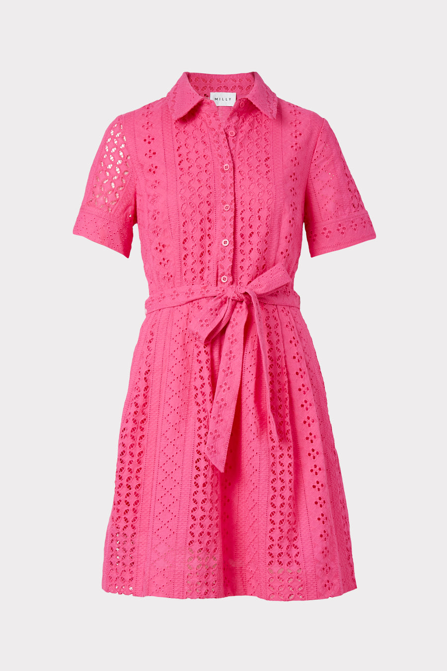 Linear Cotton Eyelet Cleo Shirt Dress