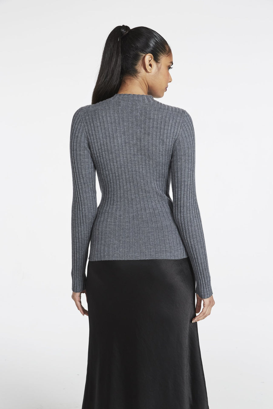 Belted Tie Front Merino Pullover