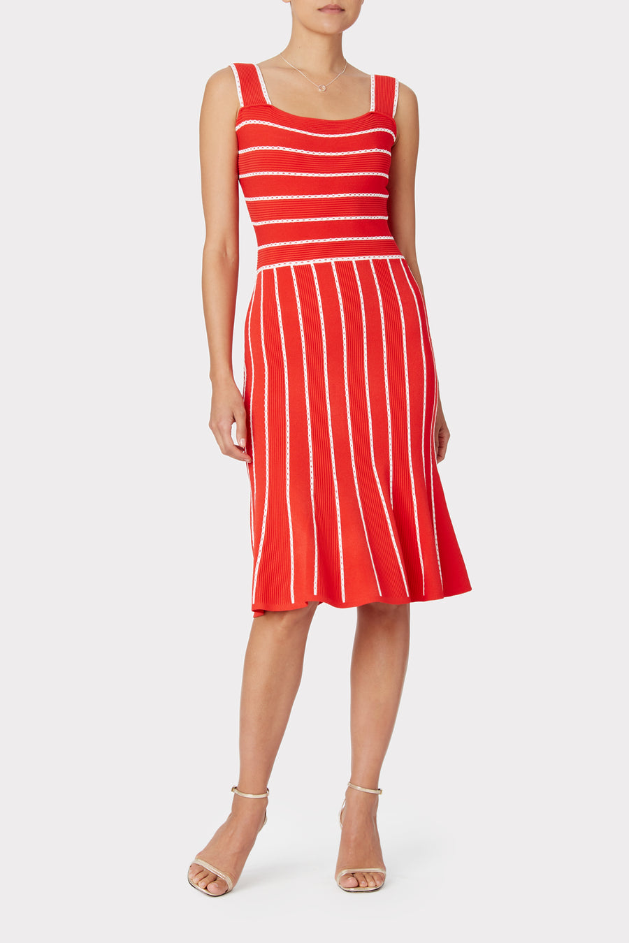Bicolor Stripe Fit & Flounce Dress