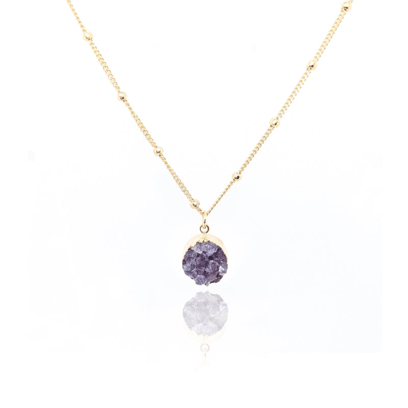 MCNE05 - Necklace Druse Amethyst - Monticano Casual - RPV International Trading LLC