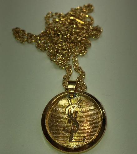 8e3c166fd6b ... Load image into Gallery viewer, Authentic YSL Yves Saint Laurent  Designer Charm Repurposed Necklace ...
