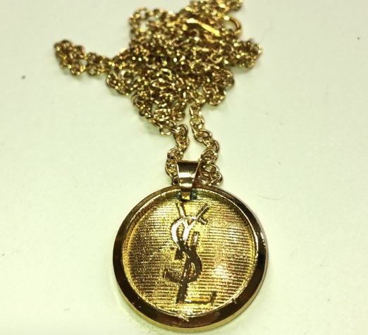 f335c5b0a16 ... Load image into Gallery viewer, Authentic YSL Yves Saint Laurent  Designer Charm Repurposed Necklace ...