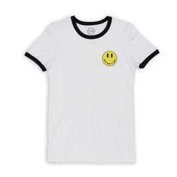 Smile Ringer Tee - White/Black