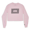 What It Is Checker Crop Long Sleeve - Light Pink