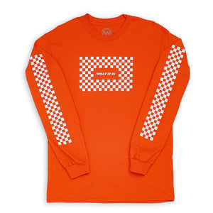 What It Is Checker Long Sleeve - Orange
