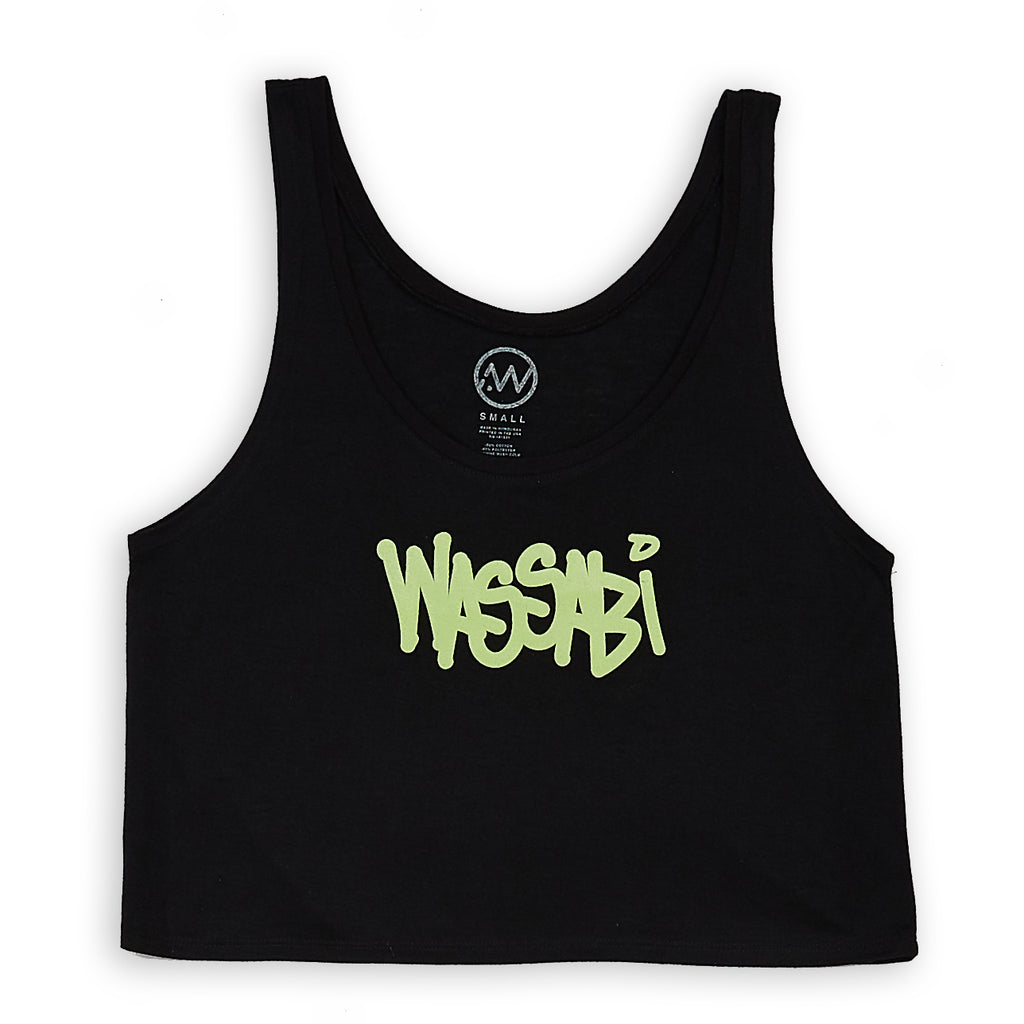 Wassabi Script Girls Flow Crop Tank - Black