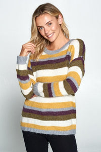 Striped Pullover Crew Neck Sweater-Poppy Street