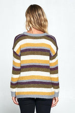 Load image into Gallery viewer, Striped Pullover Crew Neck Sweater-Poppy Street
