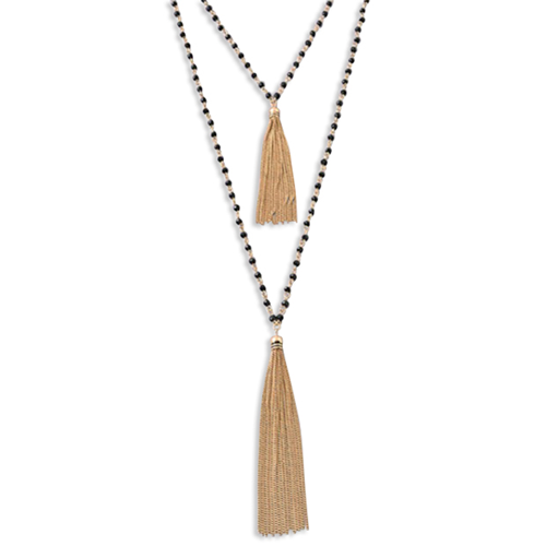 Double Tassel Beaded Necklace-Poppy Street