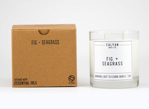 Fig + Seagrass Glass Candle Tumbler-Poppy Street