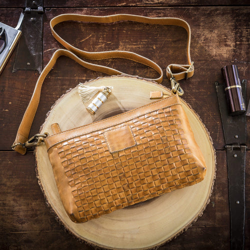 Weaved Leather Crossbody Bag-Poppy Street
