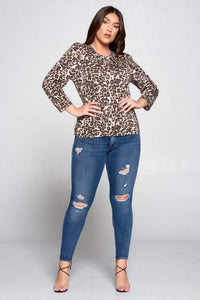 Leopard Scoop Neck Top Curvy-Poppy Street