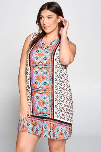 Sleeveless Scarf Print Dress Curvy-Poppy Street
