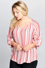Load image into Gallery viewer, Striped V-Neck Top Curvy-Poppy Street