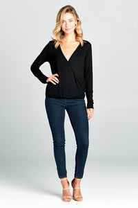 Natural Bamboo Long Sleeve Surplice Top-Poppy Street
